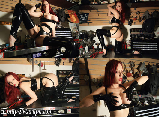 Emily Marilyn latex queen at chopper daves