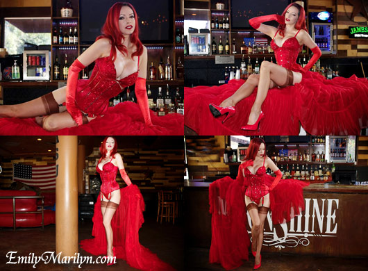 Emily Marilyn ruby red burlesque corset catherine dlish robe moonshine tempe arizona