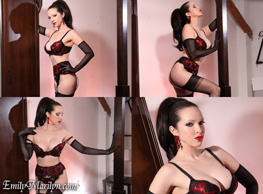 Emily Marilyn ravishing in red lace lingerie and seamed stockings