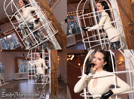 Emily Marilyn in white latex fetish catsuit and rubber crotch high boots