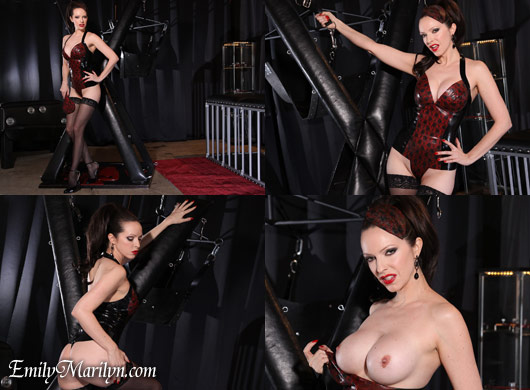 Emily Marilyn bondage cross latex tease