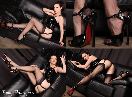 Emily Marilyn criplling high heels fetish with stockings and pvc basque