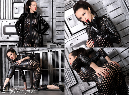 Emily Marilyn fetish matrix catsuit pvc