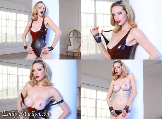 Emily Marilyn looks that kills latex body