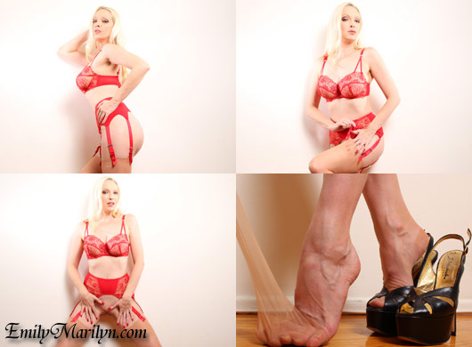 Emily Marilyn red lace lingerie