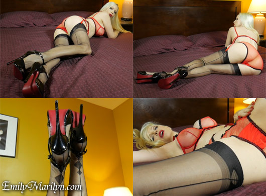 Emily Marilyn sultry tease in fully fashion stockings