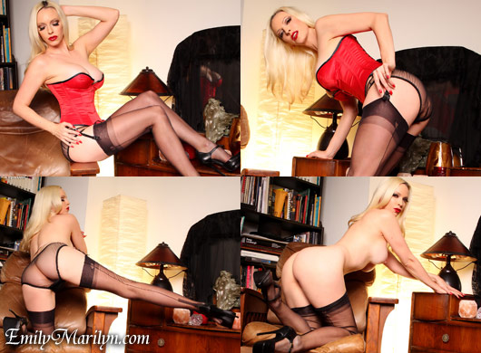 Emily Marilyn sweet as win vollers red satin corset fully fashion stockings