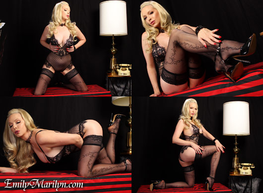 Emily Marilyn lace teddy stockings joi