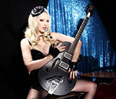 atsuko kudo black latex dress gretsch guitar high heels stockings